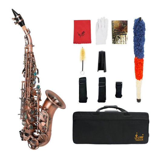 Slade Red Bronze Bend Bb B-flat Soprano Saxophone Sax Abalone Shell Key Carve Pattern with Case Gloves