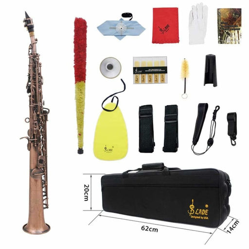 SLADE Red Bronze Straight Bb Soprano Saxophone Sax Woodwind Instrument Abalone Shell Key Carve Pattern with Case Gloves Cleaning Cloth Straps Brush