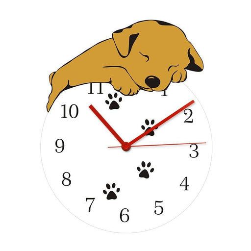 Funny Sleeping Dog Round Wall Clock Puppy Taking A Snap Paws Wall Art Home Decor Battery Operated Quartz Analog Quiet Wall Watch