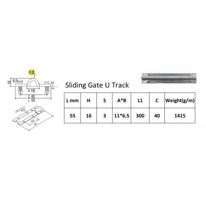 Sliding Gate Hardware Accessories Kit - 4m Track - Building