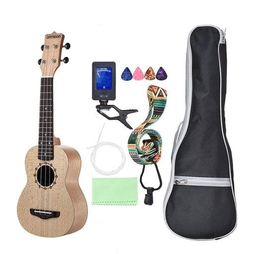 ammoon Soprano Ukulele 21 inch Ukelele Platanus Body Rosewood Fingerboard 4 Strings Guitar Ukulele Set with Extra Guitar Parts
