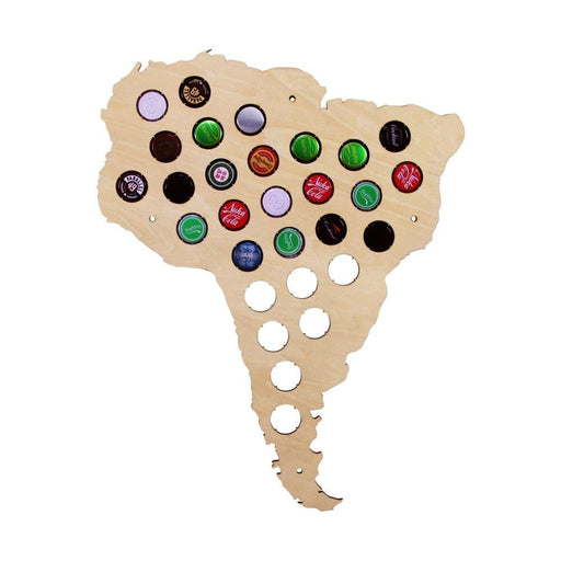 Wall Mounted South American Map Wood Decorative Map South America Beer Cap Map Beer Cap Collect Home Decoration Accessories