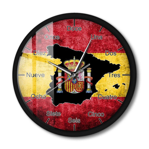 Spain Country Flag Metal Frame Wall Clock Spanish Map LED Night Light Clock For Living Room Sound Sense Wall Watch Espana Art