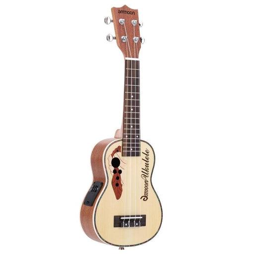 "ammoon Spruce 21"" Ukulele  Acoustic Ukelele Mini Guitar 15 Fret 4 Strings Stringed Instrument with Built-in EQ Pickup"