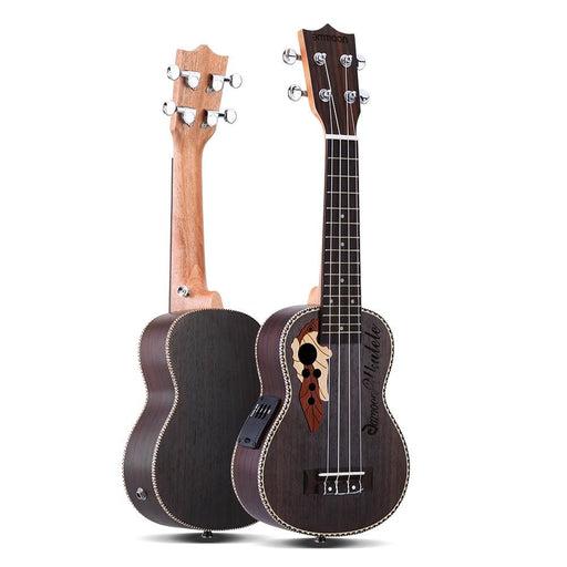 """ammoon Spruce Ukelele 21"""" Ukulele Acoustic Ukelele with Ukulele Bag 15 Fret 4 Strings Musical Instrument with Built-in EQ Pickup"""