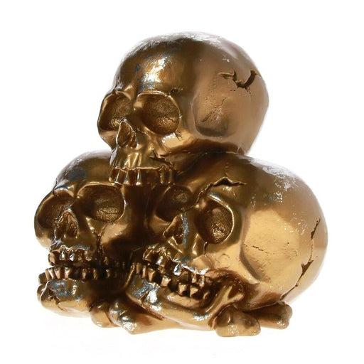 Three Human Headhunted Trophy Skulls Resin Figurine Stacking Skeleton Heads Desktop Decoration Pile Of Skull Halloween Sculpture