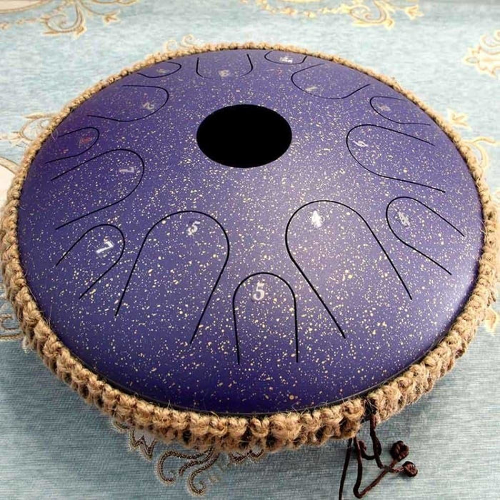 NEW Steel Tongue Drum 14 inch 14 tone Pan Hand Drum with Rope Decoration and Mallets, Sound Healing Instrument