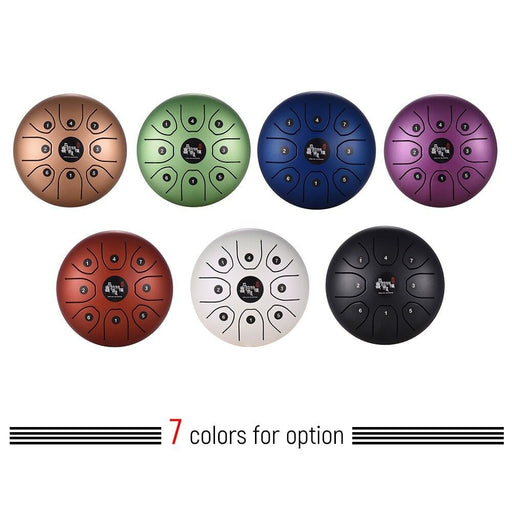 8 Inch Steel Tongue Drum Compact Size 8-Tone Hand Pan Drum C Key Percussion Instrument with Drum Mallets Carry Bag