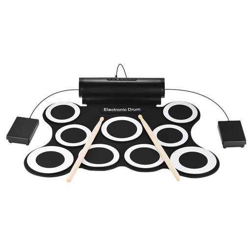 Stereo Digital Electronic Roll Up Drum Kit 9 Silicon Drum Pads Built-in 3W Speakers USB Powered with Drumsticks Foot Pedals
