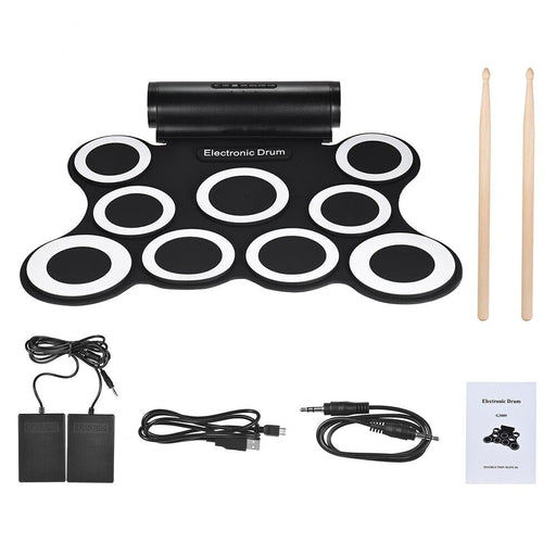 Stereo Electronic Drum Digital Roll Up Drum Kit 9 Silicon Drum Pads Built-in Double 3W Speakers USB Powered with Drumsticks