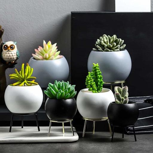 Succulent Pot Vase Simple Iron Frame Flower Stand Ceramic Hydroponic Flowerpot for Green Plant Set