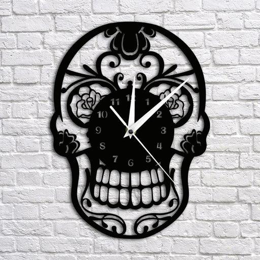 Day of the Dead Sugar Skull Wall Clock Mexican Skull Dia de Muertos Wall Clock Floral Candy Skull Decorative Hanging Wall Watch
