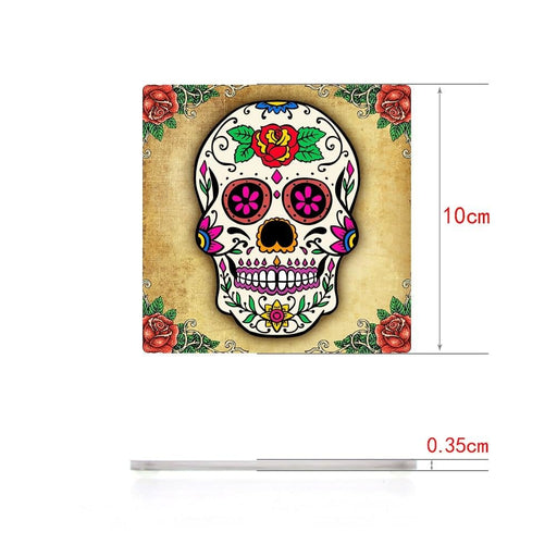 Set of 6 Floral Sugar Skull Acrylic Table Coasters Candy Skull Day of the Dead Kitchen Decor Decorated Skeleton Party Favors