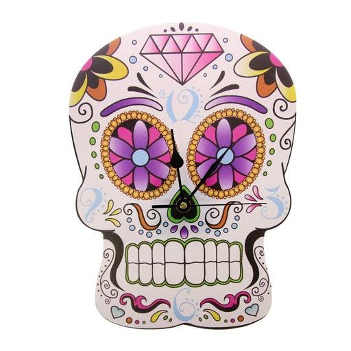 Sugar Skull Wall Clock Dia de los Muertos Day of the Dead Halloween Home Decor Flower Patern Color Printed Modern Wall Watch
