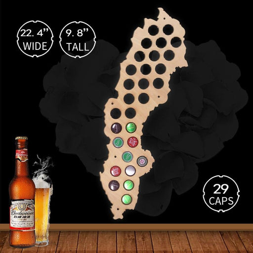 Sweden Wooden Map Bottle Beer Cap Map Wall Decor Collect For Bar Club Cap Collectors Laser Engraved Hanging Wall Art Decoration