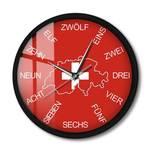 Switzerland Map Patriotic Wall Clock Country Art Home Décor Metal Frame Voice Control Swiss Numeral Wall Clock With LED Lighting