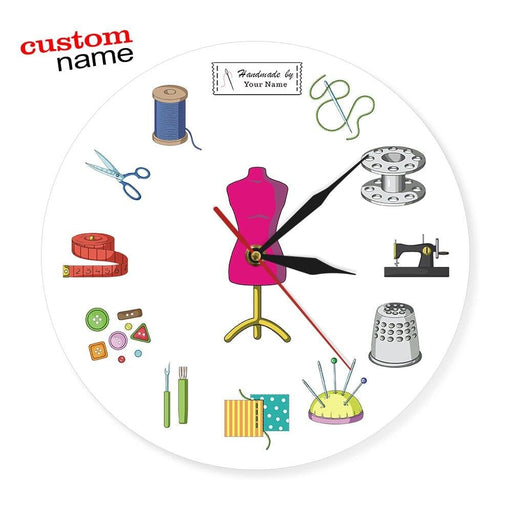 Tailor Shop Quilting and Sew Time Seamstress Modern Wall Clock Customize The Label Sewing Sign Wall Clock Personalize With Name
