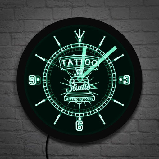 Electric Tattooing Tatto Studio Logo LED Neon Sign Wall Clock Salon Shop Business Colorful Lighting Wall Art Tattooist Gifts