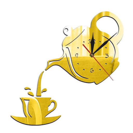 DIY Teapot and Cup Design Acrylic Mirror Modern Wall Clock Tea Kettle Shaped Hanging Clock Watch Kitchen Clock Jug With A Cup