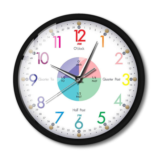 Telling Time Teaching LED Clock Modern Design With Metal Frame Time Teaching Aid Voice Control Smart Wall Clock With Night Light