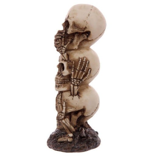 See No Evil Hear No Evil Speak No Evil Stacked Skull Tower Gothic Tabletop Decor Halloween Skeleton Skull Figurine Collectible