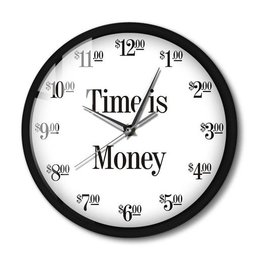 Time Is Money Funny Office Wall Clock with LED Night Light Function Sound Control Smart Wall Clock with Dollar Numbers Display