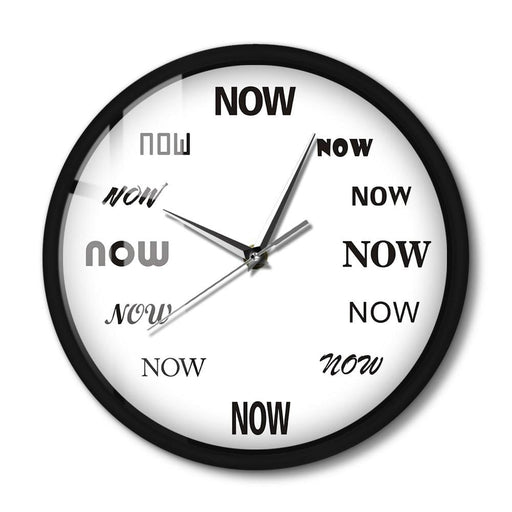 The Time Is NOW Wall Clock Glow in Dark Voice Control Silent Non Ticking Wall Clock Office Decor Late Person Procratinate Gift