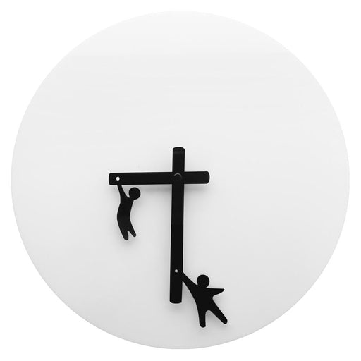 Time2Play Wall Clock Little Men Clinging To The Hands Gymnasts Fun Designer Timepiece Quartz Movement Abstract Modern Wall Clock