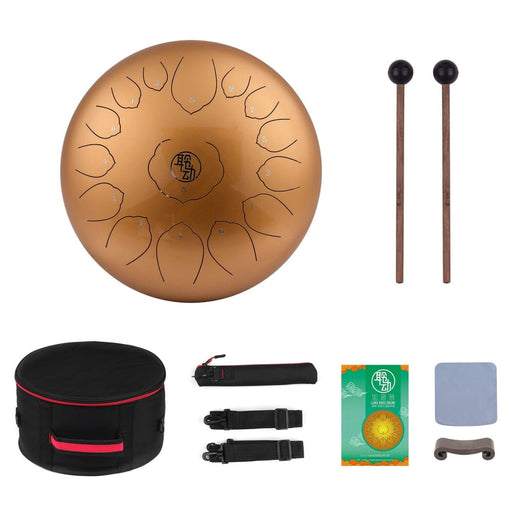 14 Inch Tongue Drum Mini 15-Tone Steel Drum Tongue C Key Hand Pan Drum with Drum Mallets Carry Bag Percussion Instrument