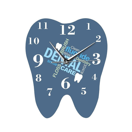Dental Words Tooth Shaped Wall Clock Dentist Professional Wall Watch Decorative Clinic Ornament Dental Orthodontics Surgeon Gift