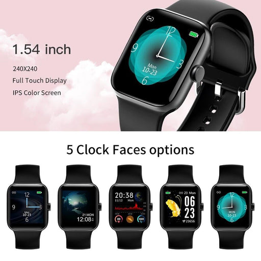RUNDOING NY17 Full Touch Screen smart watch with Aluminum alloy Case IP68 waterproof pink for women smartwatch for Android IOS