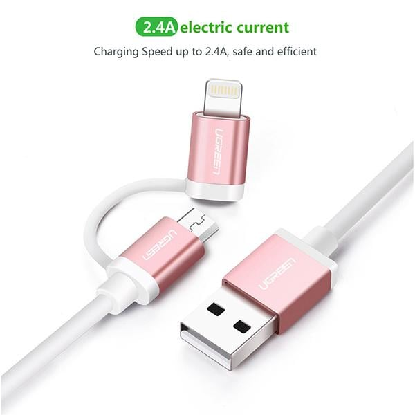 Ugreen Micro-usb to Usb Cable with Lightning Adapter 1.5m