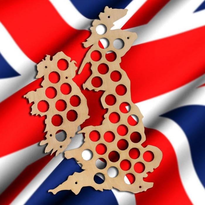 UK Beer Cap Map Bottle Cap Holder Collection Gift Art United Kingdom Beer Cap Map Display Great Britain Wood Map Wine Lover Gift