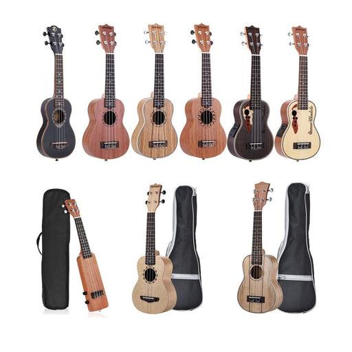 "ammoon Ukulele 21"" Acoustic Ukulele 15 Fret 4 Strings Guitar Musical Stringed Instrument Different Types Guitarra for Option"