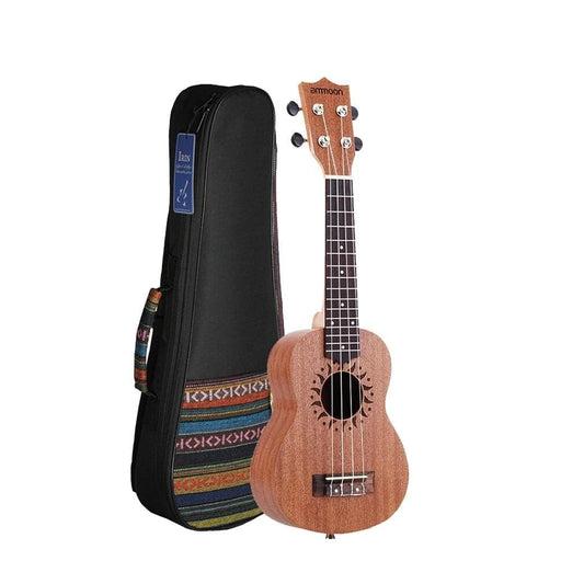 """ammoon 21"""" Ukulele Acoustic Ukelele with 21"""" Ukulele Bag Sapele Body Rosewood Fingerboard 15 Fret 4 Strings"""