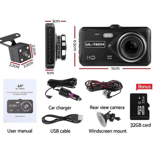 Ul Tech 4 Inch Dual Camera Dash Camera - Black - Auto