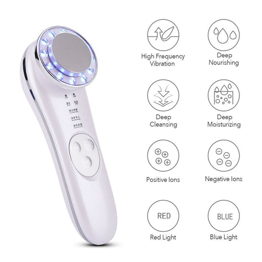 Ultrasonic Facial Rejuvenation Device Red Blue Light Therapy Skin Lifting Vibration Anti Wrinkle 42℃ Heated Ion Massage Machine