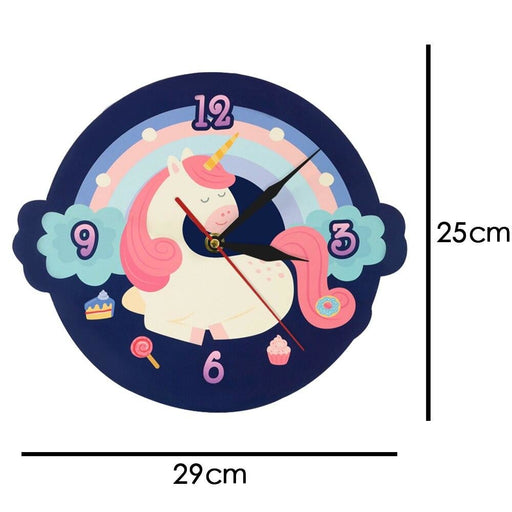 Cute Sweet Dream Unicorn Shaped Wall Clock Cartoon Unicorn With Colorful Rainbow Girl Room Clock Wall Watch Nursery Wall Decor