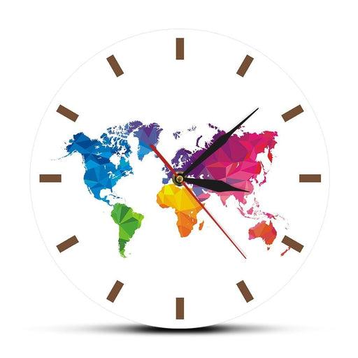 Unique Colorful World Map Wall Clock Silent Movement Modern Decorative Wall Watch Geometric Wall Art Housewarming Traveler Gift