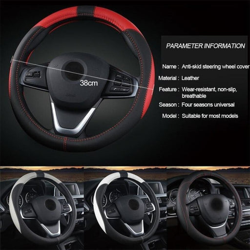 Universal 37 38cm Car Steering Wheel Cover 5 Colors PU Leather Anti-slip Auto Steering-wheel Covers Sports Car Styling Interior