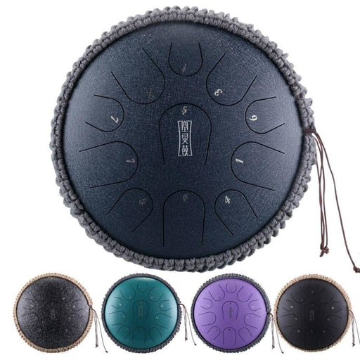 Upgrade 12 Inch Mini Drum 11 Tone Steel Tongue Drum Handpan Instrument With Padded Drum Bag And A Pair Of Mallets