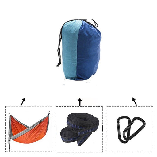 Upgrade Camping Hammock with Double Hammock Tree Straps Portable Parachute Colorblock Nylon Hammock for Backpacking Travel