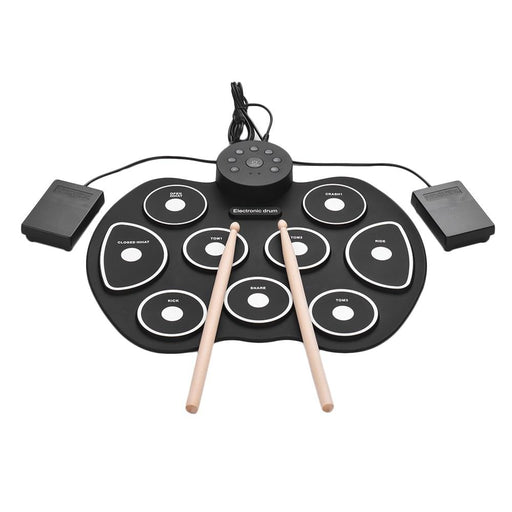 USB Digital Roll-Up Drum Set Electronic Drum Kit Silicon 9 Drum Pads with Drumsticks Foot Pedals for Beginners Children Kids
