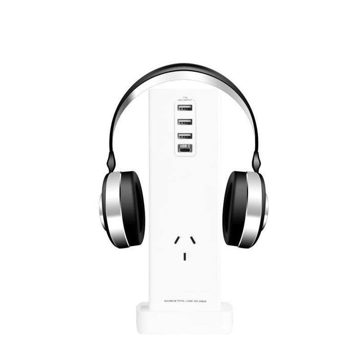 USB Fast Charge Headphone Stand with 240V Power Socket goslash fast delivery fast delivery