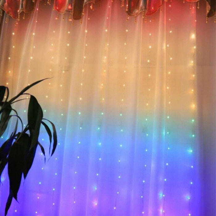 1.5X2M Rainbow Curtain Lights LED String Garland Fairy Icicle Decorative Lights for Christmas Party Bedroom Wall Wedding Decor