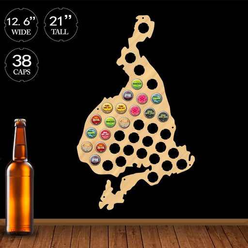 Vestmannaeyjar Shaped Beer Cap Map Iceland Westman Islands Wine Cap Collector Wood Map Display Wall Art Geographical Home Decor