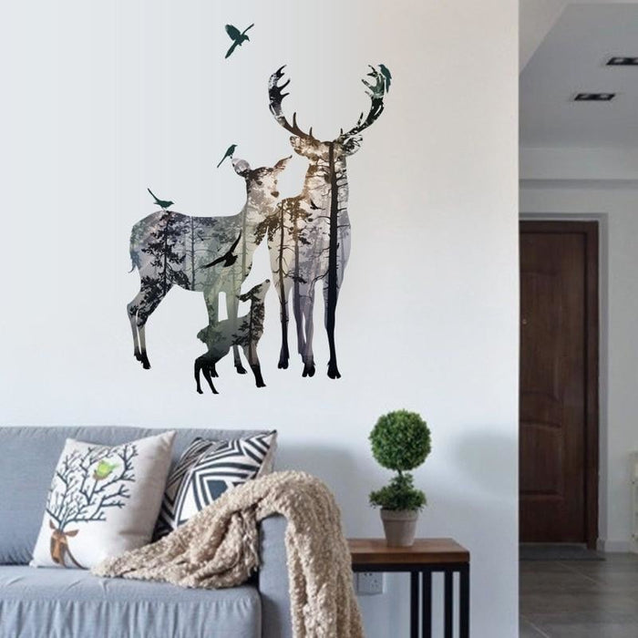 Vintage Forest Deer Flying Birds Wall stickers For Living