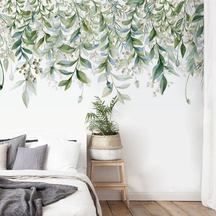 watercolor Green Plants Vine Wall Stickers Green Leaves Wall