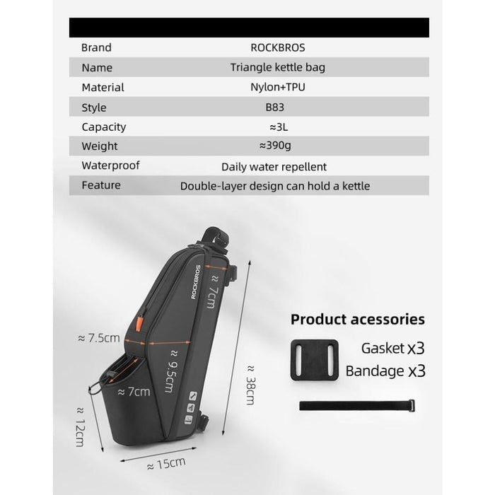 Waterproof Handle and Bicycle bag with Water Bottle Holder
