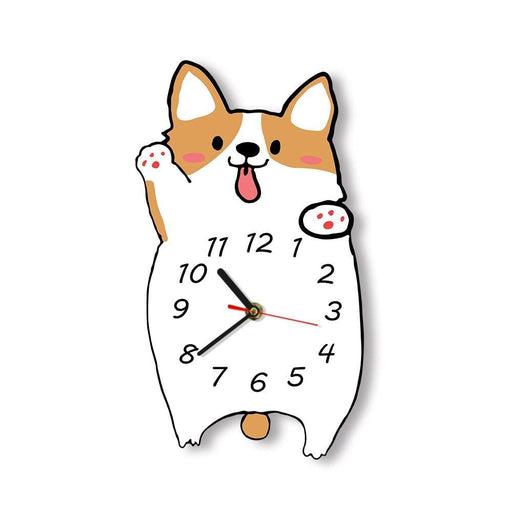 Welsh Corgi Cartoon Wall Clock Silent Non ticking Frameless Wall Watch Dog Lover Home Decor Corgi Dog Portrait Memorial Gift